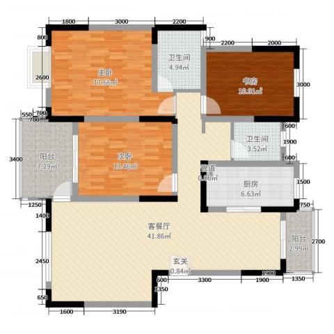 国信金邸世家3室2厅2卫1厨131.00㎡户型图