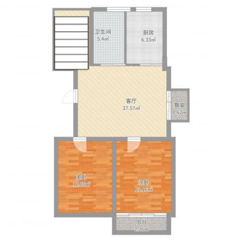 文昌花园2室1厅1卫1厨98.00㎡户型图
