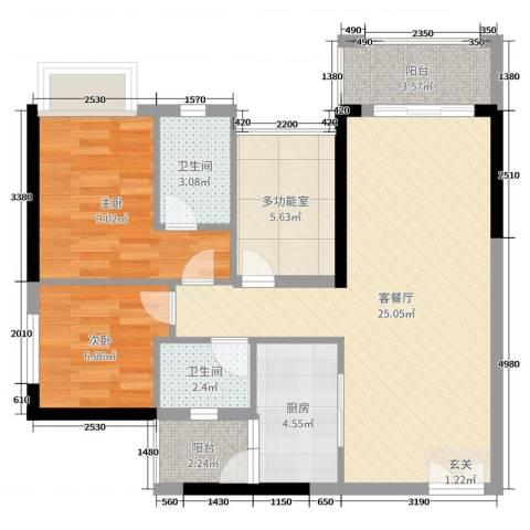 君怡・君临天下2室2厅2卫1厨77.00㎡户型图
