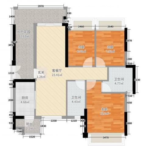 君怡・君临天下3室2厅2卫1厨98.00㎡户型图