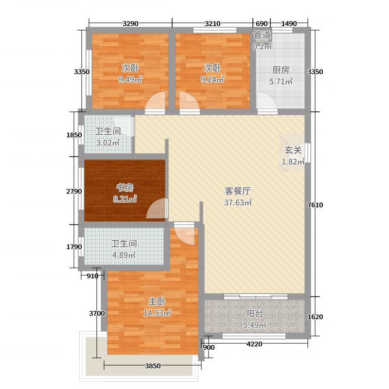 高科麓湾国际社区123.00㎡GB1户型4室4厅2卫1厨