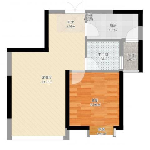 世纪城龙祥苑1室2厅1卫1厨56.00㎡户型图