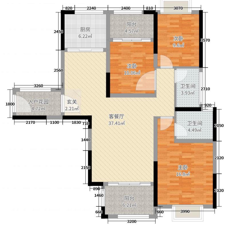 瀚宇天悦湾131.00㎡高层A1-2户型3室3厅2卫1厨