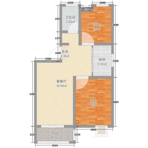 御龙湾2室2厅1卫1厨88.00㎡户型图