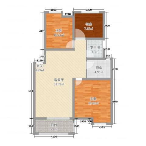 御龙湾3室2厅1卫1厨102.00㎡户型图