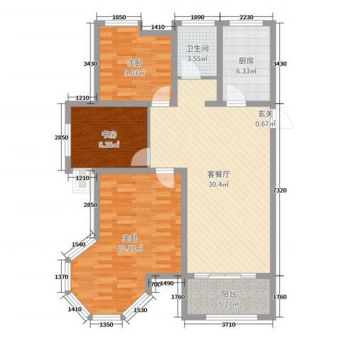 御龙湾3室2厅1卫1厨104.00㎡户型图