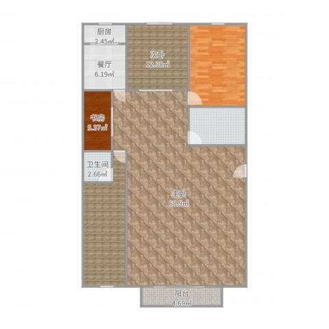 吉祥双子星大厦3室1厅1卫1厨176.00㎡户型图