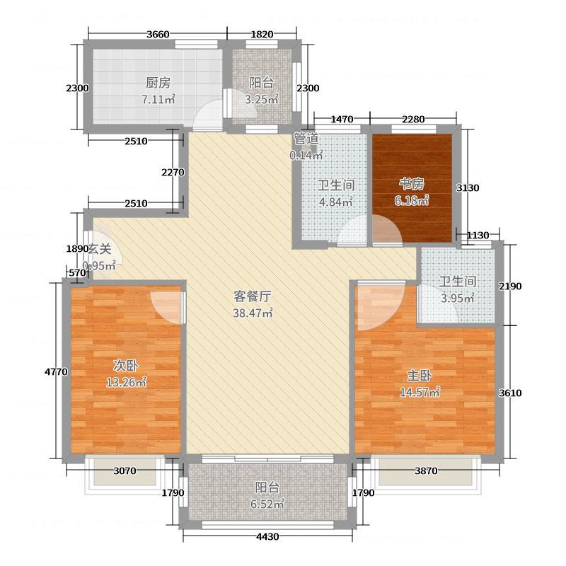 公园里123.00㎡YJ115T户型3室3厅2卫1厨