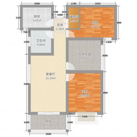 冠景・凯旋门2室2厅1卫1厨89.00㎡户型图