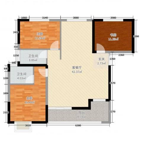 嘉豪 ・公园世家3室2厅2卫0厨121.00㎡户型图