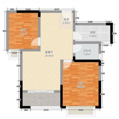 英祥承德公馆2室2厅1卫1厨89.00㎡户型图