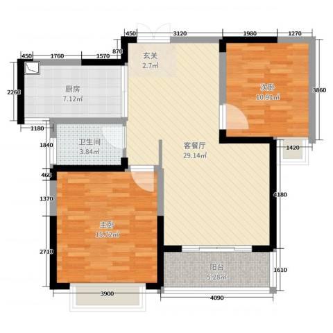 英祥承德公馆2室2厅1卫1厨90.00㎡户型图