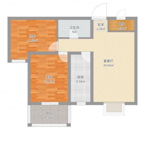 天阔逸城2室2厅1卫1厨82.00㎡户型图