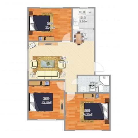 叠翠骏景3室1厅1卫1厨90.00㎡户型图