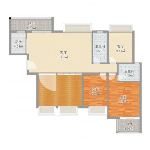 中信左岸2室2厅2卫1厨142.00㎡户型图