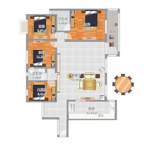龙江花园4室2厅2卫1厨163.00㎡户型图