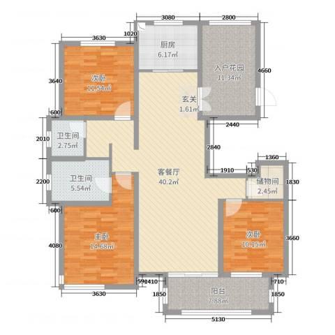 国仕山3室2厅2卫1厨146.00㎡户型图