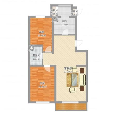 北美家园2室2厅1卫1厨88.00㎡户型图