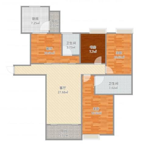 世贸天城3室2厅2卫1厨122.00㎡户型图