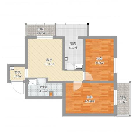 南新园2室1厅1卫1厨69.00㎡户型图
