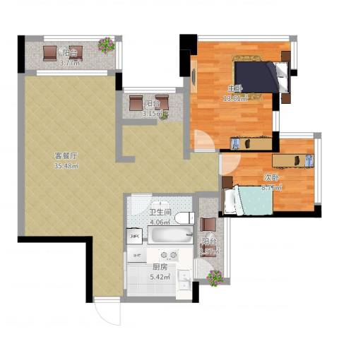 雅居乐曼克顿山2室2厅1卫1厨106.00㎡户型图