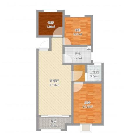 安泰未来城3室2厅1卫1厨91.00㎡户型图