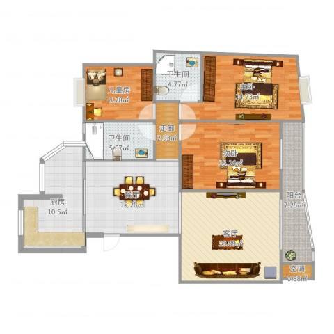 景鸿苑3室2厅2卫1厨132.00㎡户型图