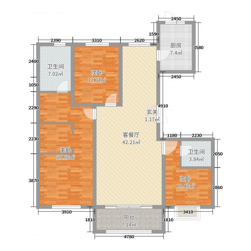 滨河风景176.43㎡C5户型3室3厅2卫1厨