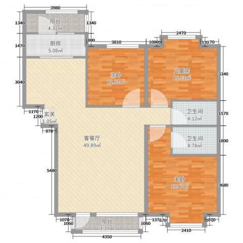 兴泰东河湾3室2厅2卫1厨149.00㎡户型图