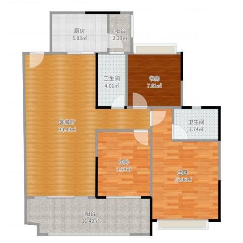 保利红珊瑚3室2厅2卫1厨113.00㎡户型图