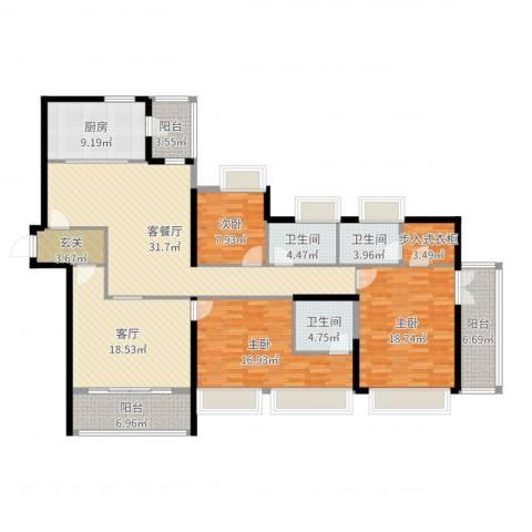 信和御园3室3厅3卫1厨176.00㎡户型图
