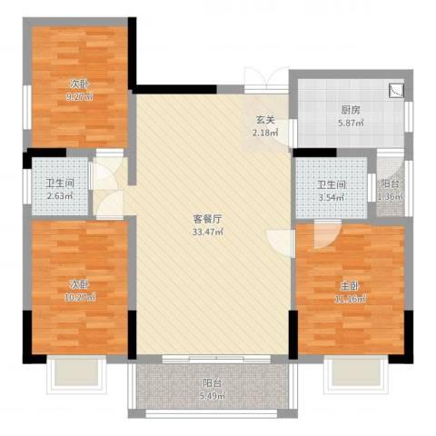 康城水郡3室2厅2卫1厨104.00㎡户型图
