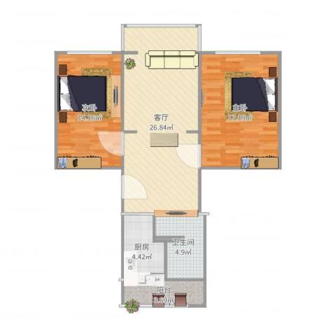 海洋石油天野小区2室1厅1卫1厨89.00㎡户型图