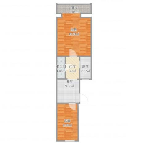 韩庄子西里2室1厅1卫1厨52.00㎡户型图