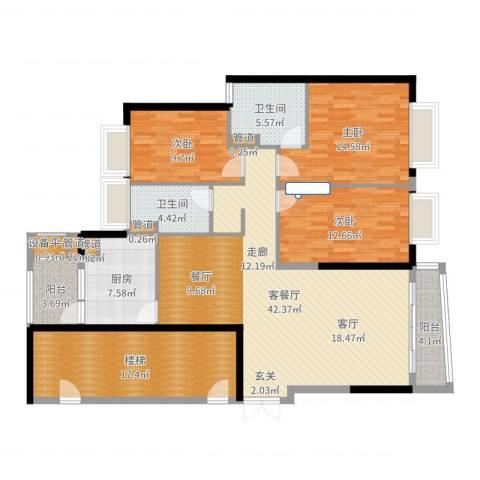 方圆月岛3室2厅2卫1厨155.00㎡户型图