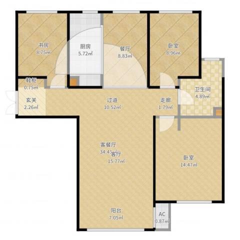 凡尔赛颐阁二期1室2厅1卫1厨109.00㎡户型图