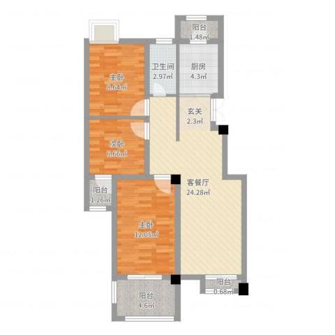 河滨花园3室2厅1卫1厨84.00㎡户型图