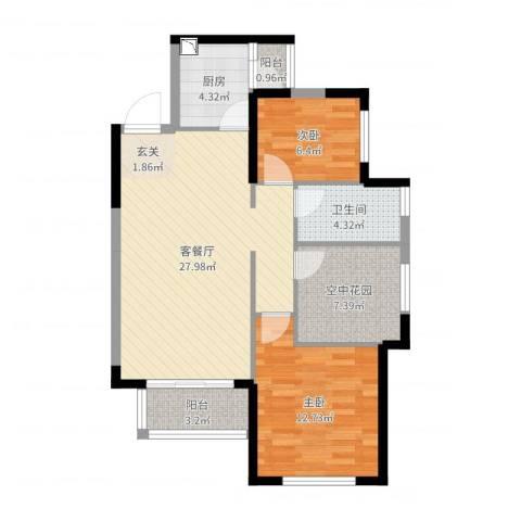 振业城二期2室2厅1卫1厨84.00㎡户型图