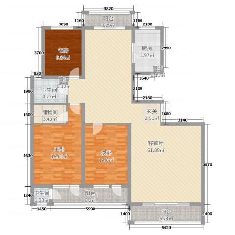 滨河雅园3室2厅2卫1厨172.00㎡户型图