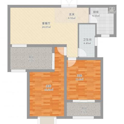 中环城紫荆公馆2室2厅1卫1厨104.00㎡户型图