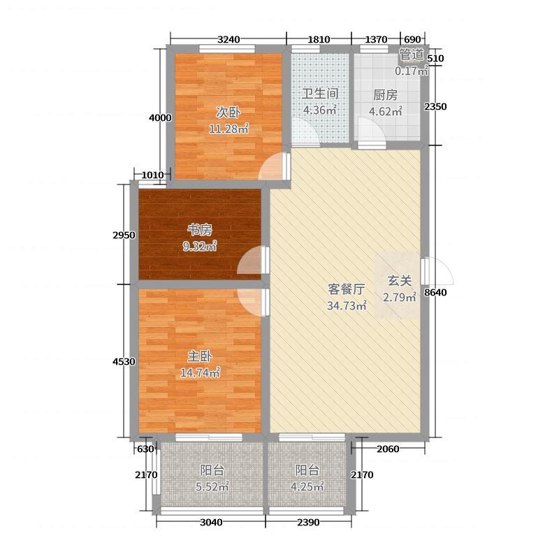 太平洋森活广场111.23㎡7#D户型3室3厅1卫1厨