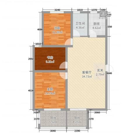 太平洋森活广场3室2厅1卫1厨111.00㎡户型图