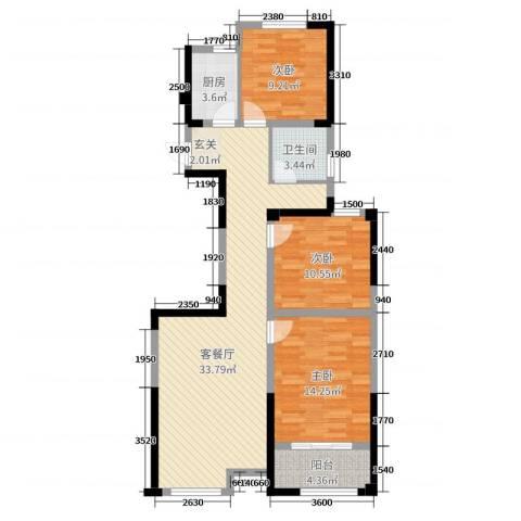 太平洋森活广场3室2厅1卫1厨112.00㎡户型图