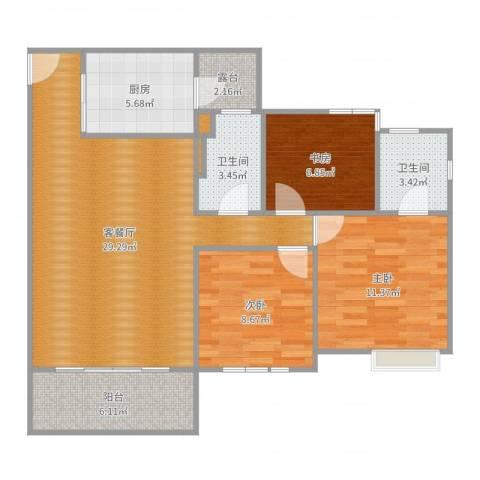 雅园新村3室2厅2卫1厨97.00㎡户型图