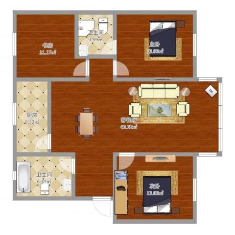 龙景花园3室2厅2卫1厨120.00㎡户型图