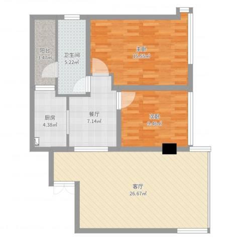 时代东安方美女2室2厅1卫1厨90.00㎡户型图