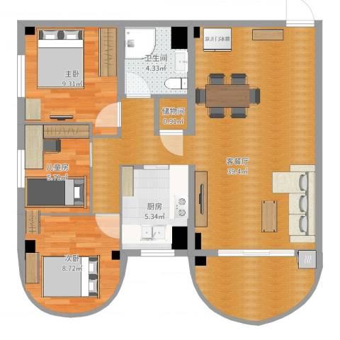 福津大街3室2厅1卫1厨86.00㎡户型图