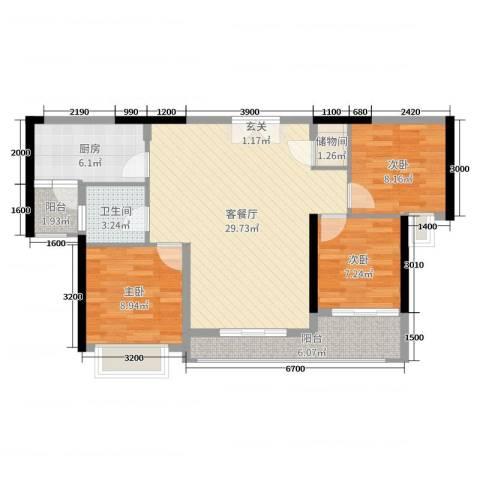 中山海雅君悦花园3室2厅1卫1厨104.00㎡户型图