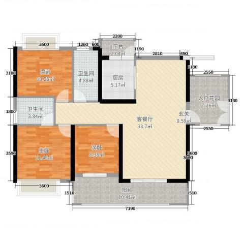 中山海雅君悦花园3室2厅2卫1厨129.00㎡户型图