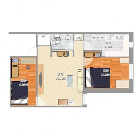 天缘公寓2室1厅1卫1厨63.00㎡户型图